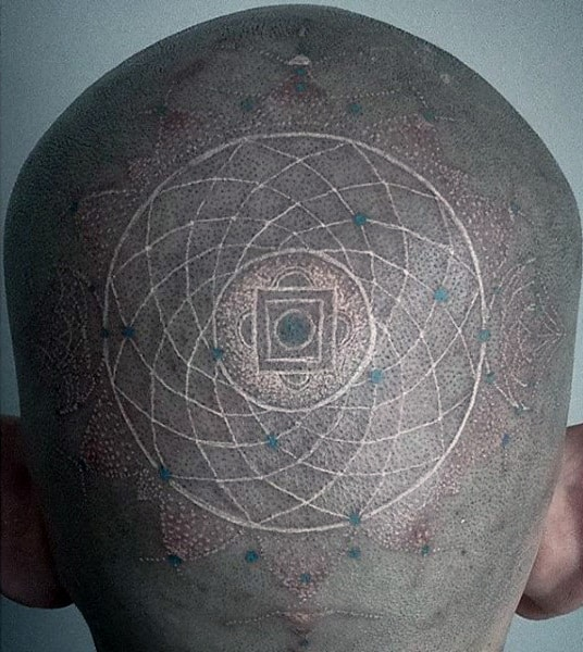 Man With White Ink Back Of Head Circular Tattoo Design