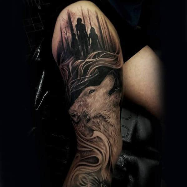 Man With Wolf Tree Sleeve Thigh And Leg Tattoos