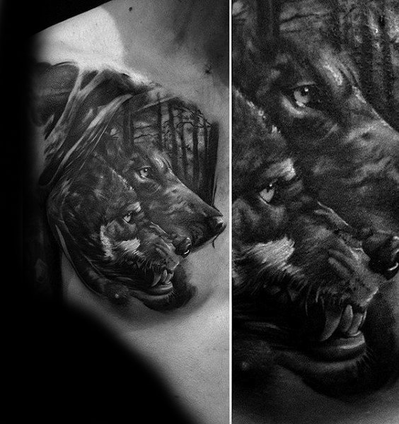Man With Wolves In Forest Animal Chest Tattoo