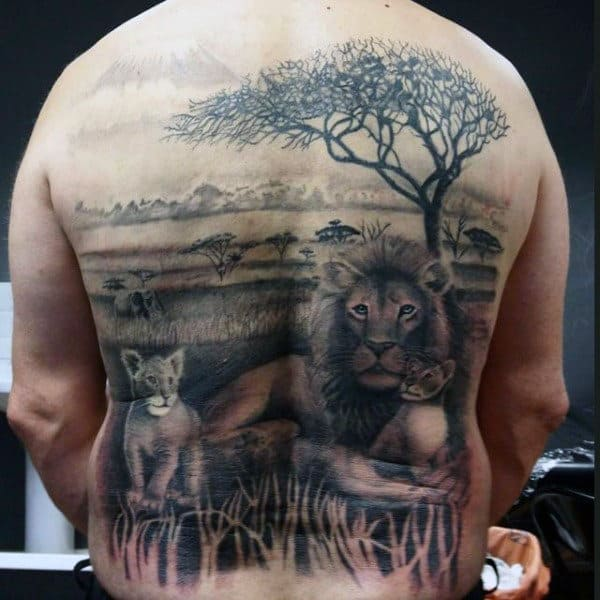 Man With Wonderful Family Of Lion And Cubs Tattoo Full Back