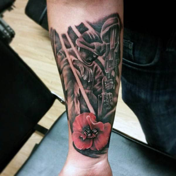Man With World War I Solider Poppy Tattoo On Wrist