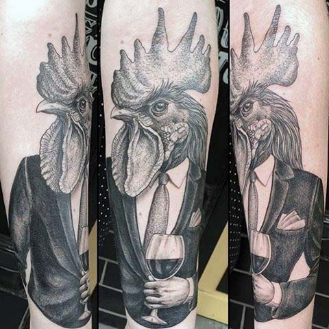 Man Withabstract Rooster In Formal Suit Tattoo On Leg
