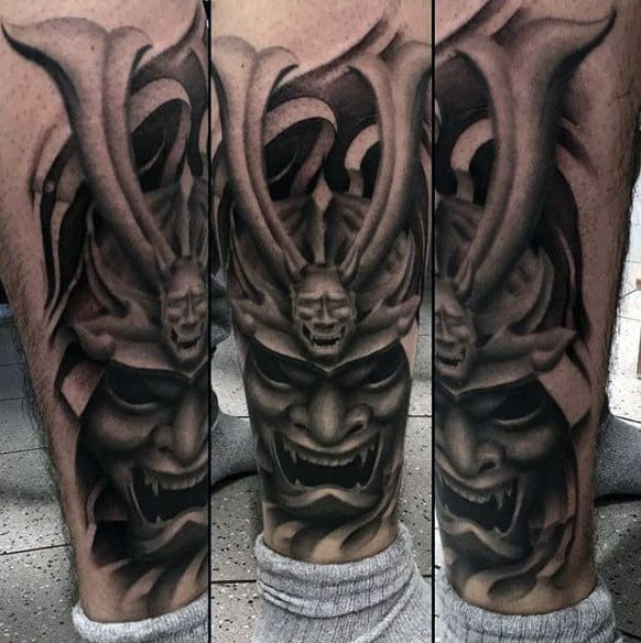 Man Withhorned Samurai Mask Shaded Calf Tattoo