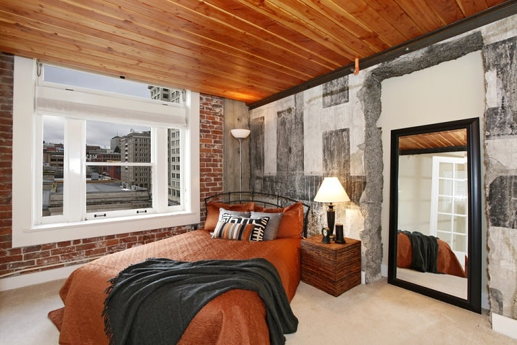 Mancave Apartment Wood Ceiling