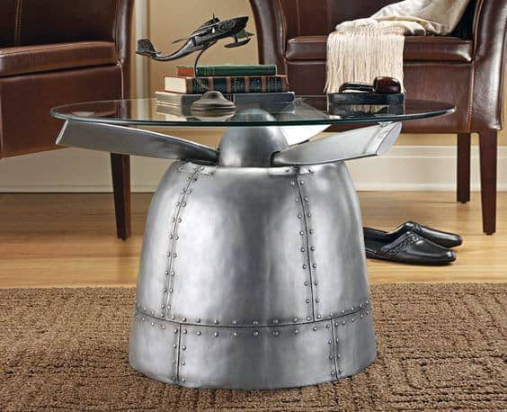 Mancave Furniture Airplane Engine End Table