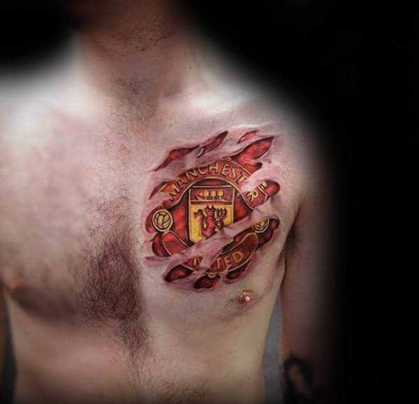 Manchester United Mens Soccer Logo Chest Tattoo With Torn Skin Design