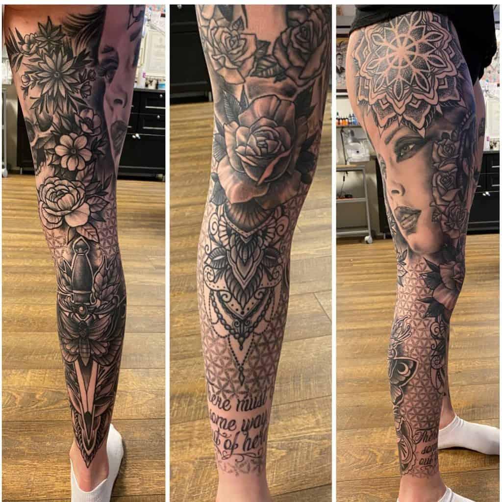 Mandala dalarna leg sleeve tattoo