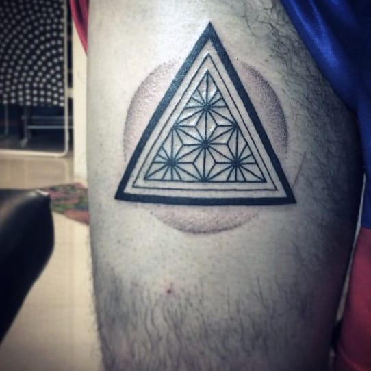 Mandala Designed Triangle Tattoo On Arms For Men
