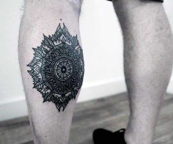 Mandala Leg Calf Flower Tattoo On Men