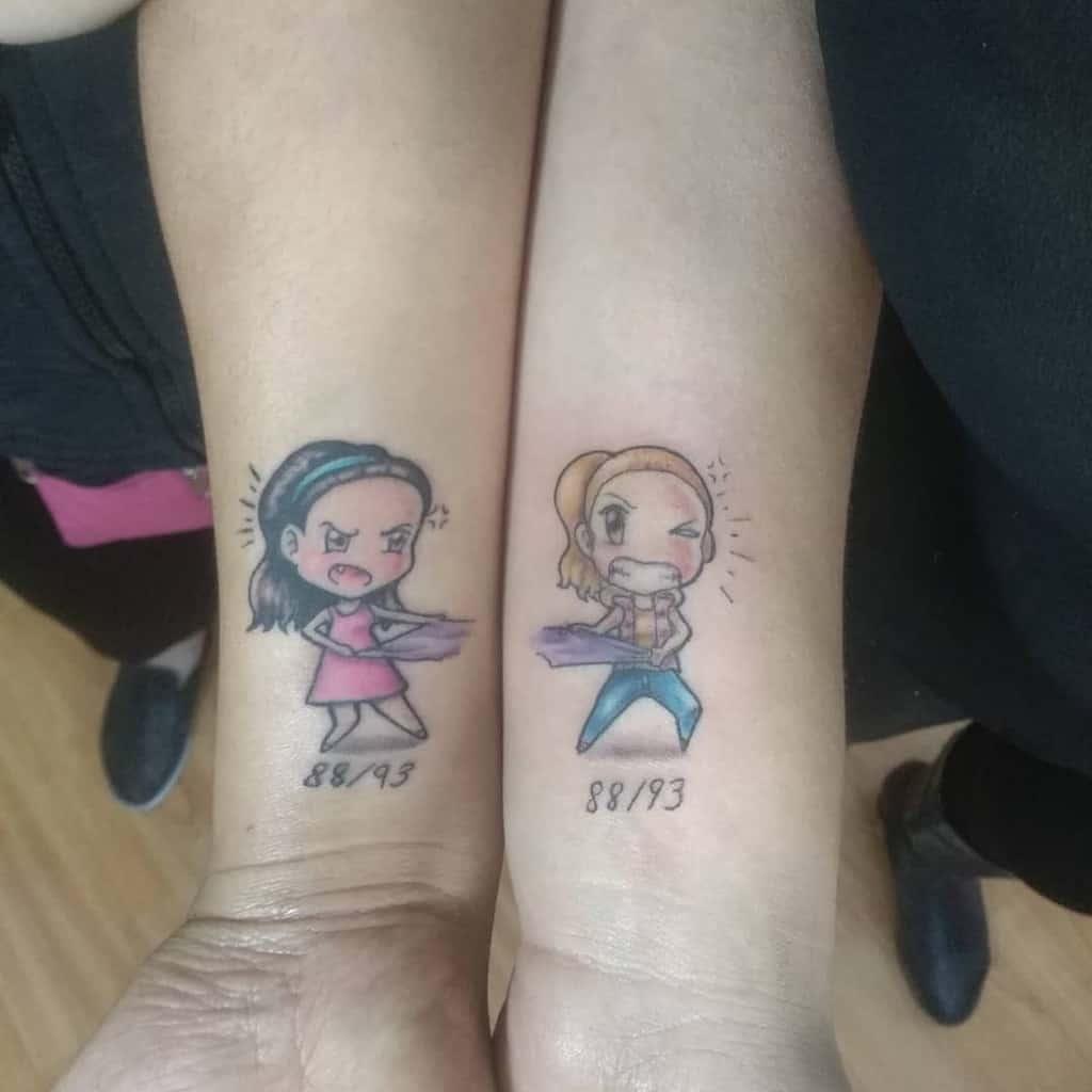 manga-chibi-color-ink-sister-tattoo-josaphextattoo