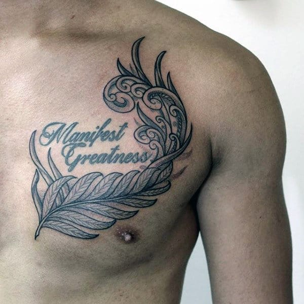 Manifest Greatness Mens Deocrative Fern Tattoo On Upper Chest
