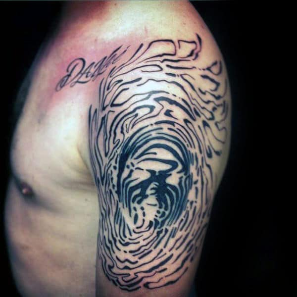Manlu Guys Abstract Fingerprint Arm Tattoos