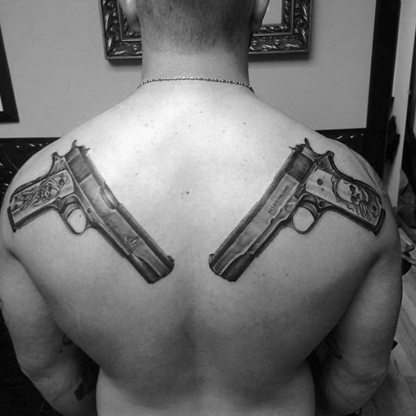 Manly 1911 Tattoos For Males On Back Of Shoulders