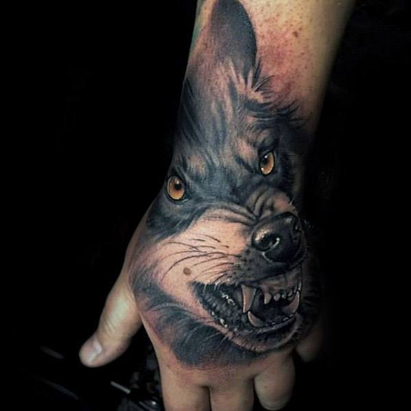 Manly 3d Hand Sick Wolf Tattoo Design Ideas For Men