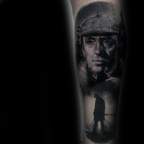 Manly 3d Realistic Portrait Of Sherlock Holmes Leg Sleeve Tattoo Design Ideas For Men