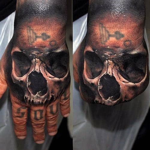 Manly 3d Skull Male Hand Tattoos