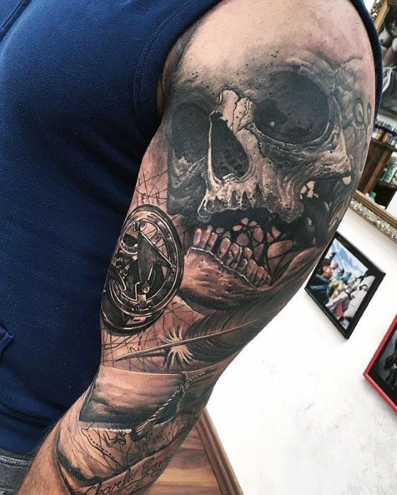 Manly 3d Sleeve Tattoo For Men With Skull And Map Design