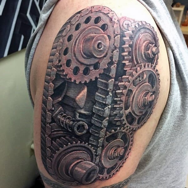 Manly 3d Tattoo Of Engine Gear Male Arms