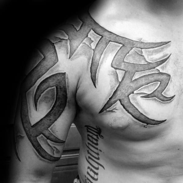 Manly 3d Tribal Male Tattoo Ideas On Arm And Chest
