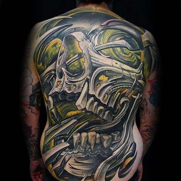 Manly 3d Yellow And Shaded Full Back Skull Tattoos For Men