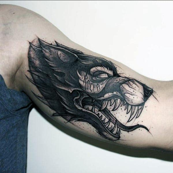 Manly Agressive Wolf Cool Arm Tattoos For Guys