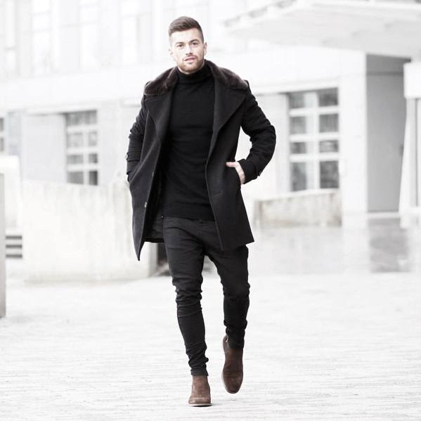 Manly All Black Outfits Mens Fall Season Style Ideas