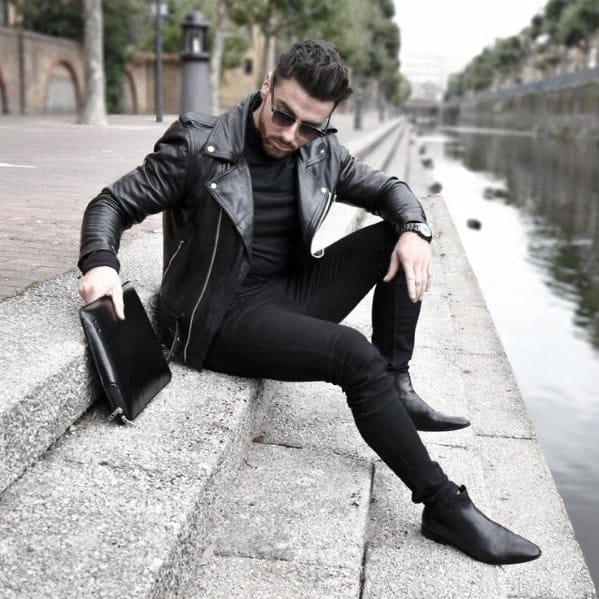 Manly All Black Outfits Mens Style Ideas With Black Leather Jacket