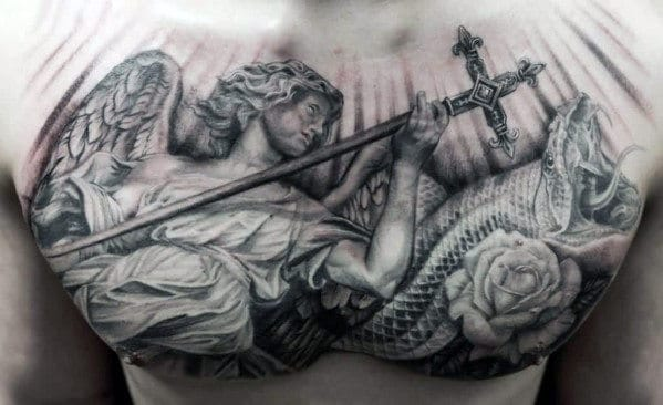 Manly Angel With Cross Guys Upper Chest 3d Tattoos