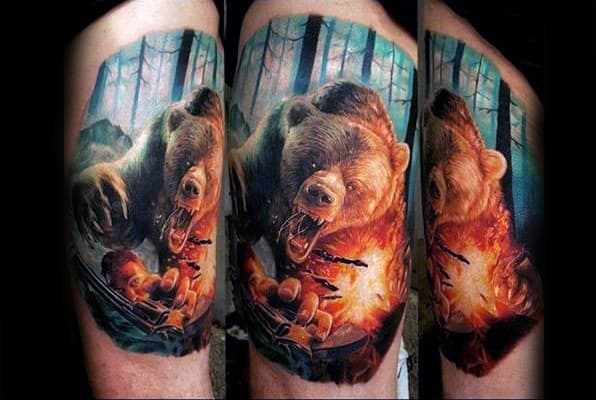 Manly Animal Bear Attack Realistic Nature Tattoo Design For Guys