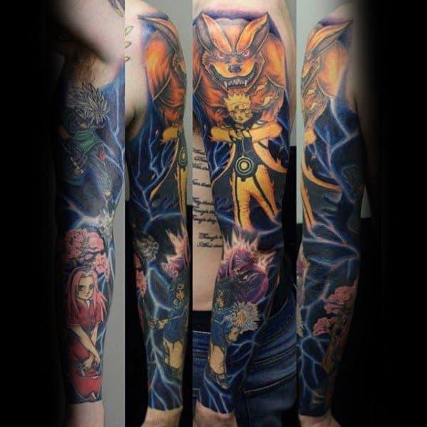 Manly Anime Full Arm Sleeve Tattoo Design Ideas For Men