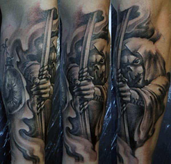 Manly Archery Tattoo For Guys On Forearm With Smoke Design Background