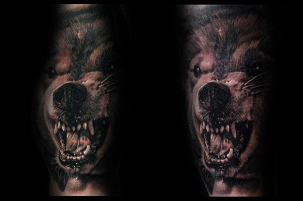 Manly Arm Realistic Wolf Tattoos For Guys