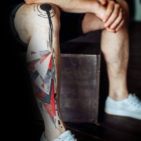 Manly Artsy Guys Shapes Geometric Leg Tattoos