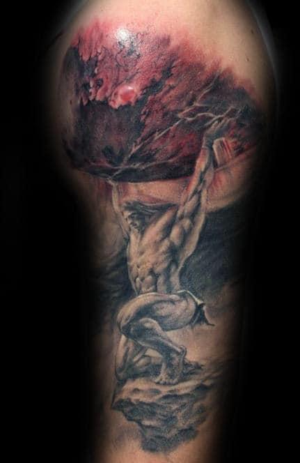 Manly Atlas Storm Mens Upper Arm Realistic 3d Tattoos