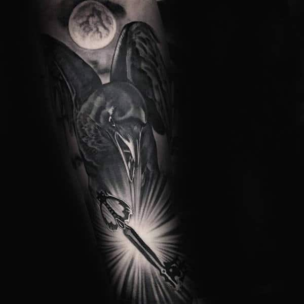 Manly Awesome Crow With Key Mens Forearm Sleeve Tattoos