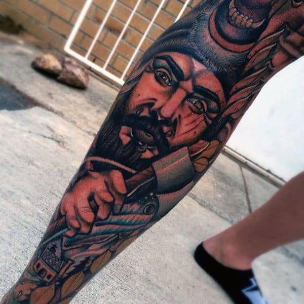 Manly Awesome Mens Leg Sleeve Tattoo Inspiration