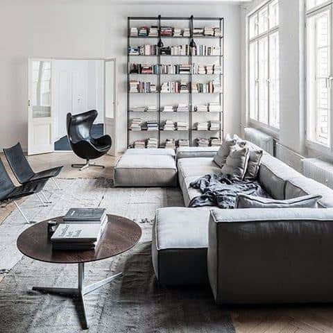 Manly Bachelor Pad Furniture Grey Sectional Sofa In Living Room