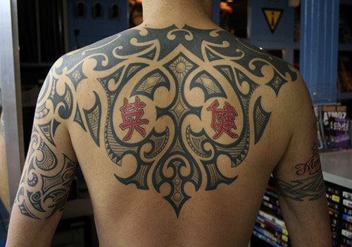 Manly Back Tribal Tattoos For Men