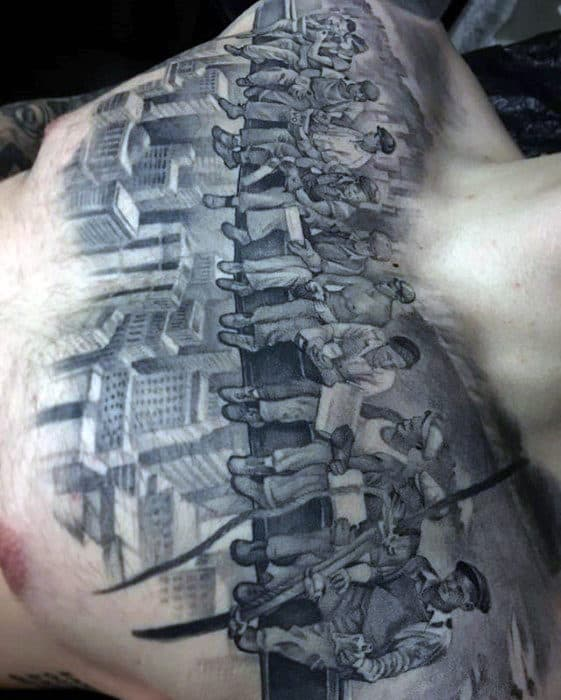 Manly Badass Men On A Steel Beam Above City Guys Chest Tattoo