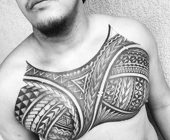 Manly Badass Tribal Tattoo Design Ideas For Men On Upper Chest