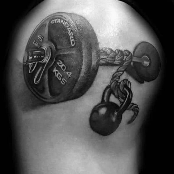 Manly Barbell Tattoo Design Ideas For Men