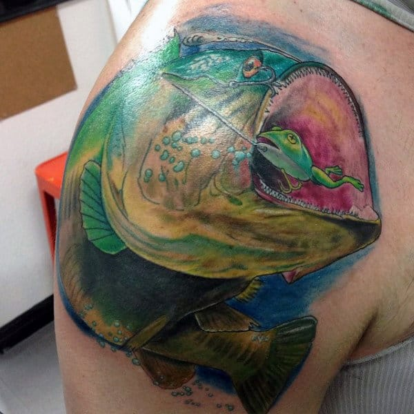 Manly Bass Fishing Shoulder Tattoo With Bright Colors