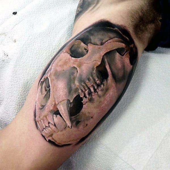 Manly Bear Skull 3d Inner Arm Tattoos For Men