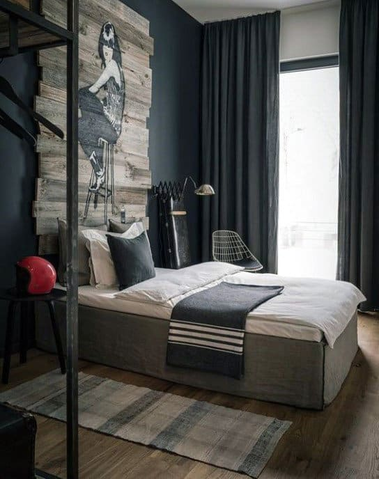 Manly Bedroom Decor With Cool Wood Board Decor On Back Painted Wall