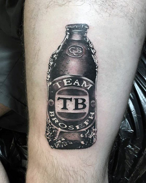 Manly Beer Tattoo Design Ideas For Men On Thigh