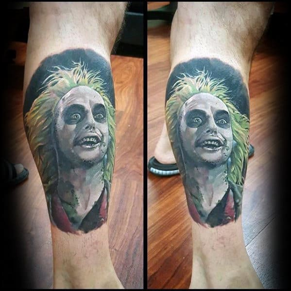 Manly Beetlejuice Leg Calf Tattoo Design Ideas For Men