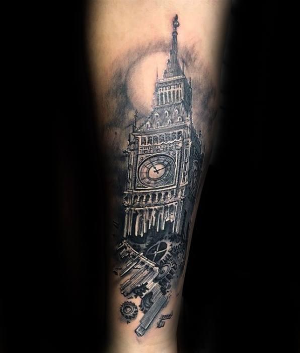Manly Big Ben Tattoo Design Ideas For Men