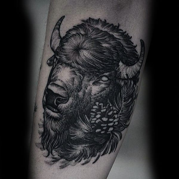 Manly Bison Arm Tattoos For Guys