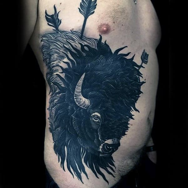 Manly Bison With Arrows Full Ribcage Tattoo