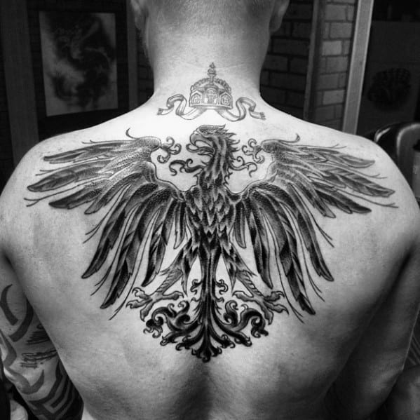 Manly Black And Grey Shaded German Eagle Upper Back Tattoos For Guys
